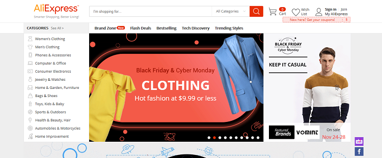 AliExpress website screenshot