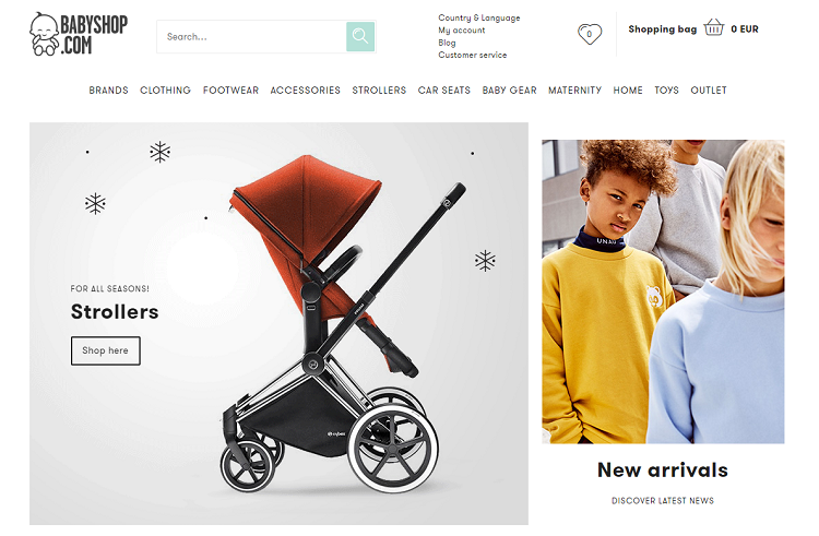 Babyshop website screenshot