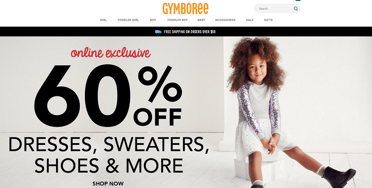 Gymboree website screenshot