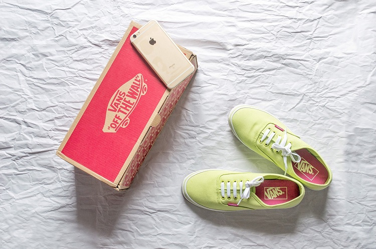 Shoe box and a pair of shoes