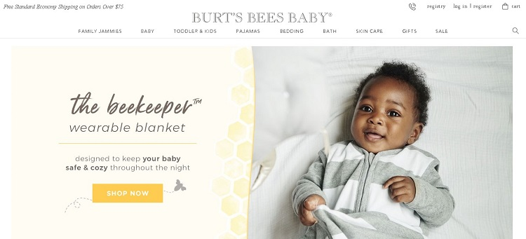 Burt's Bees Baby website screenshot